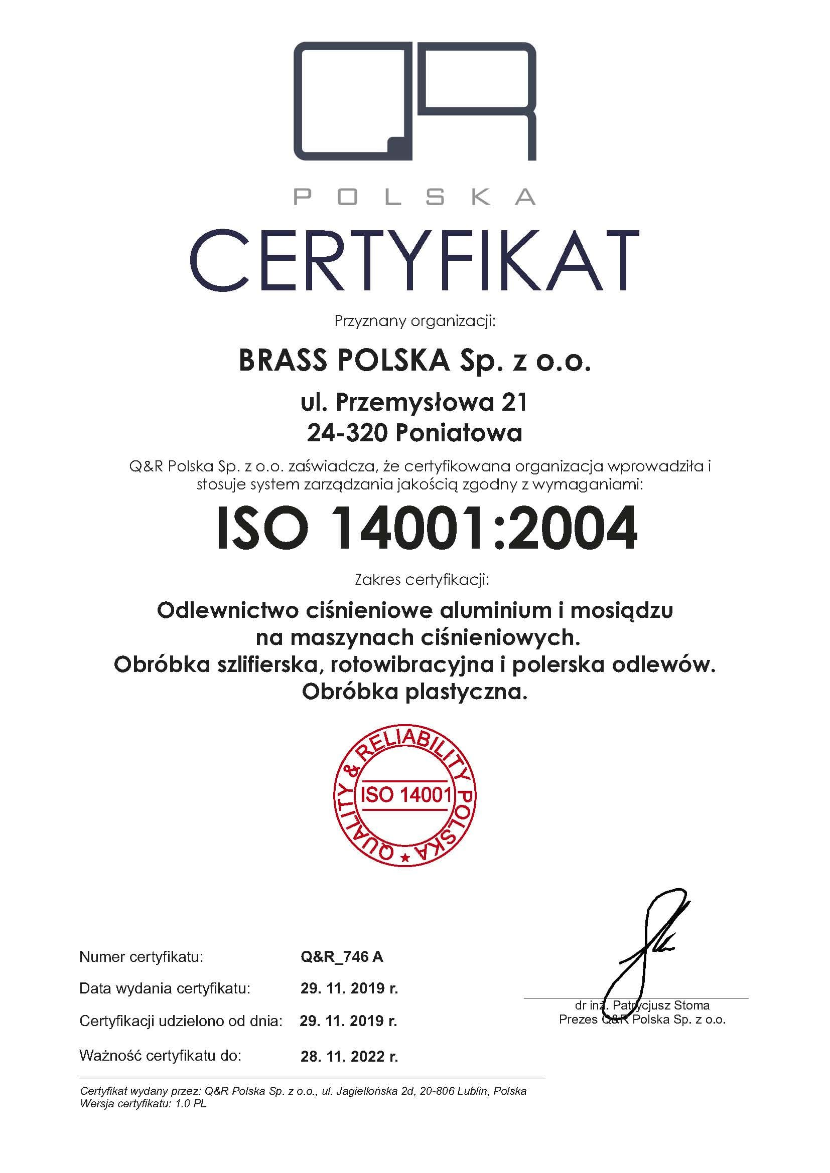 certyfikat QR_746 A pl 14001 ver 1.0